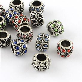 Antique Silver Plated Alloy Rhinestone Large Hole European Beads, Rondelle with Leaf, 9x7mm, Hole: 5mm