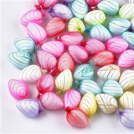 Organza Cloth Fabric Covered Foam Beads, No Hole/Undrilled, Egg