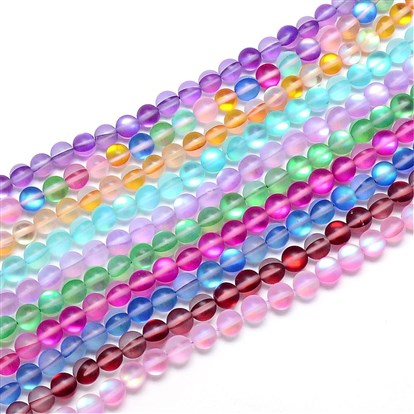 Synthetic Moonstone Beads Strands, Holographic Beads, Dyed, Frosted, Round