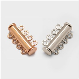 Alloy Magnetic Slide Lock Clasps, 4-Strand, 8-Hole, Tube