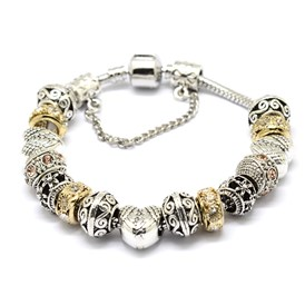 Alloy Rhinestone Bead European Bracelets, with Brass Chain, 190mm