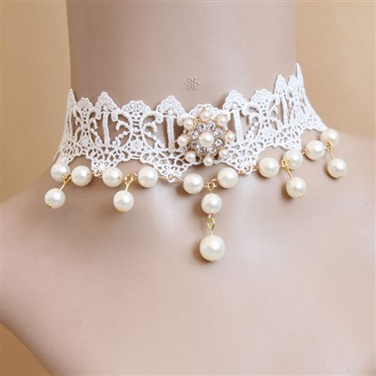 "Lace Choker Necklaces, Wedding Bride Necklaces, with Alloy, Imitation Pearl and Rhinestone, 11""-1"