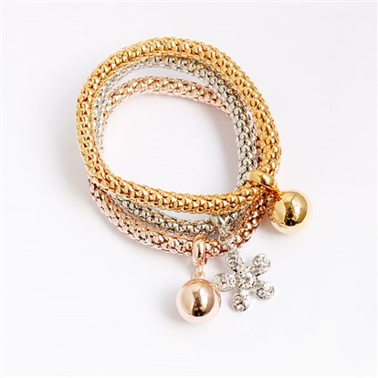 Alloy Stretch Charm Bracelets, Popcorn Chain, with Rhinestone, Flower and Ball-1