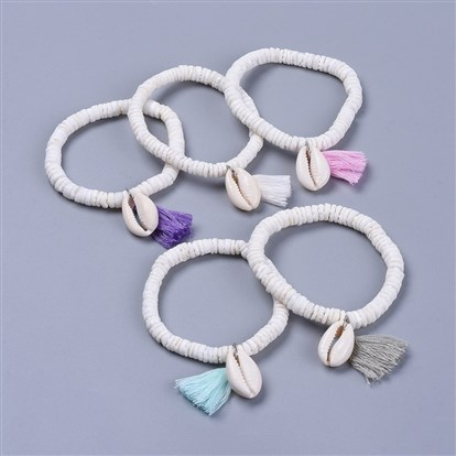 Cotton Thread Tassels Charm Bracelets, with Shell Beads and Cowrie Shell Beads, with Burlap Paking Pouches Drawstring Bags