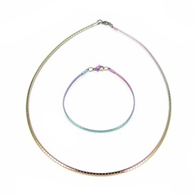 304 Stainless Steel Chain Necklaces & Bracelets Sets, with Lobster Claw Clasps