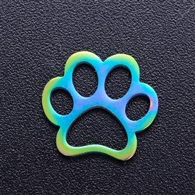 201 Stainless Steel Pet Filigree Joiners, Dog Paw Print