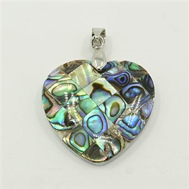 Abalone/Paua Shell Pendants, with Brass Findings, Mosaic Pattern, Heart, Platinum Metal Color, Colorful, 30x30x10mm Hole: 4x7mm