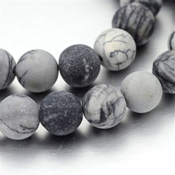 Netstone Frosted Round Natural Black Silk Stone/Netstone Bead Strands, 10mm, Hole: 1mm; about 40pcs/strand, 15""