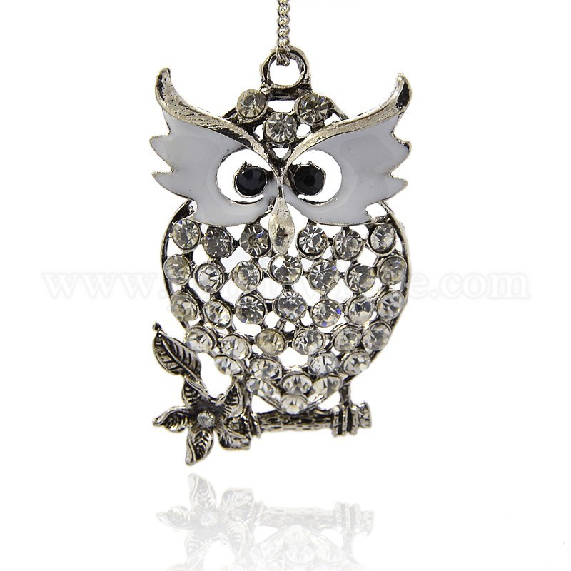 Wholesale antique silver tone alloy enamel rhinestone bird big antique silver tone alloy enamel rhinestone bird big pendants owl necklace big pendants for halloween aloadofball Image collections