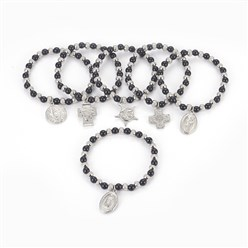 "Black 304 Stainless Steel Charm Bracelets, with Plastic Beads, Mixed Shaped, Black, 2-1/4""(5.6cm)"