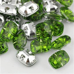 Green Taiwan Acrylic Rhinestone Buttons, Faceted, 1-Hole, Rectangle, Green, 30x21x10.5mm, Hole: 2mm