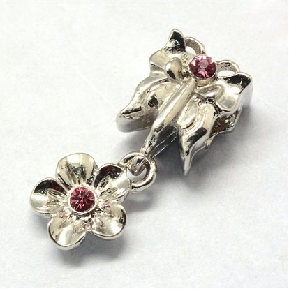 Alloy European Dangle Beads, Large Hole Beads, Butterfly and Flower, Platinum-1