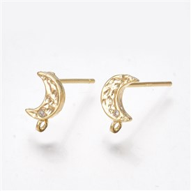 Brass Cubic Zirconia Stud Earring Findings, with Loop, 925 Sterling Silver Pins, Moon, Clear