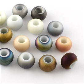 Matte Electroplated Glass Beads, Imitation Porcelain Large Hole Beads, 14~15x10mm, Hole: 5~6mm