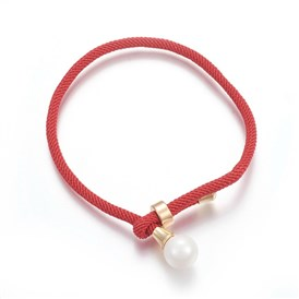 Cotton Cord Bracelets, with Shell Pearl Beads and Brass Finding, Long-Lasting Plated