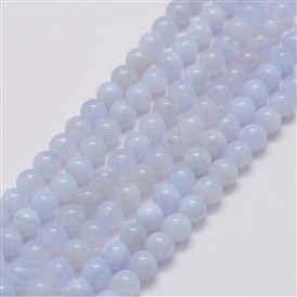 Natural Blue Lace Agate Bead Strands, Grade AB, Round