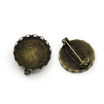 Basic Brooch Pin Findings, with Brass Trays and Iron Back Bar Pins, Nickel Free, 22x21x8mm, Hole: 1mm, Pin: 0.8mm, Tray: 20mm