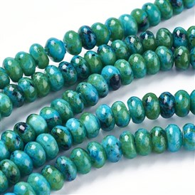 Natural Yellow Turquoise Graduated Beads Strand, Imitation Chrysocolla, Dyed, Rondelle