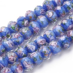 CornflowerBlue Handmade Gold Sand Lampwork Beads Strands, Inner Flower, Faceted Rondelle, CornflowerBlue, 11~12x8~9mm, Hole: 2mm; about 45pcs/strand, 17.3""