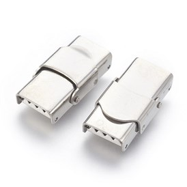 304 Stainless Steel Watch Band Clasps, Rectangle