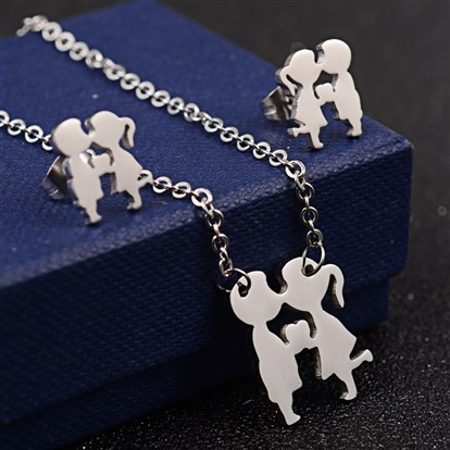 "Couples 304 Stainless Steel Pendant Necklaces and Stud Earrings, 20.27""; 11.5x10x1.5mm, Pin: 0.8mm"