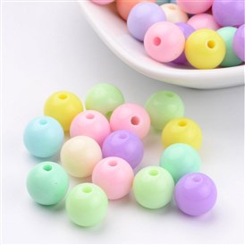 Solid Chunky Bubblegum Acrylic Ball Beads, Round