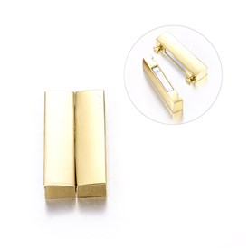 Alloy Magnetic Clasps, Rectangle, 37x19x7mm, Hole: 34x4mm