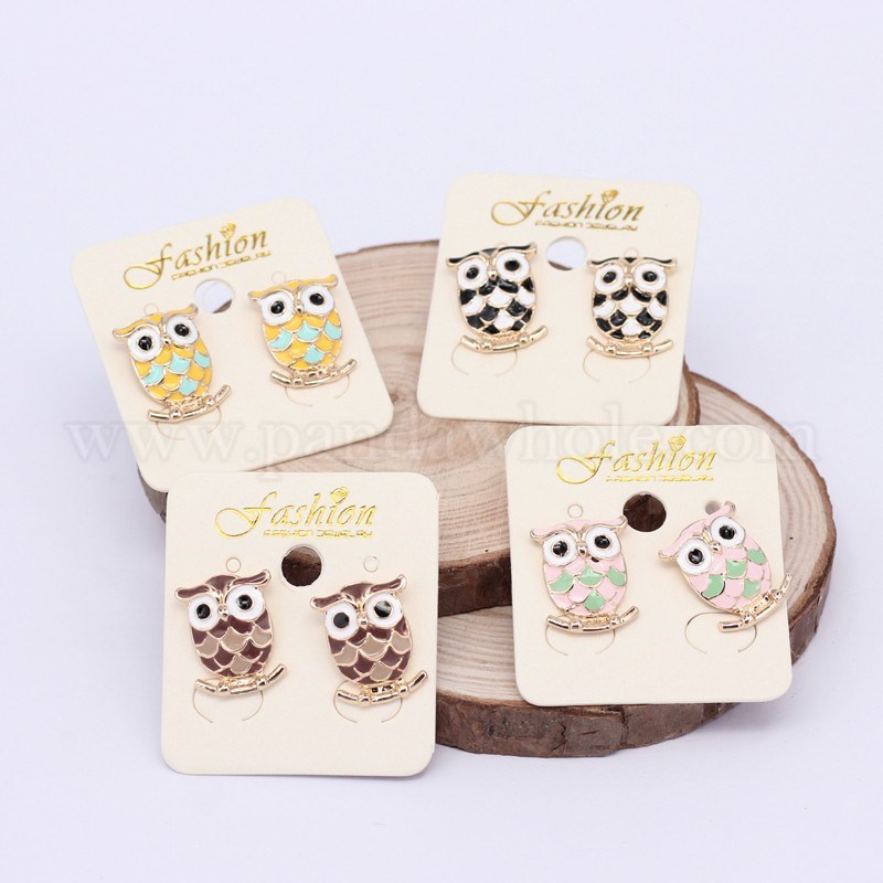 Wholesale Golden Plated Alloy Enamel Owl Stud Earrings