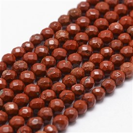 Natural Red Jasper Beads Strands, Grade AB+, Faceted, Round