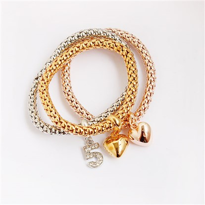 Alloy Stretch Charm Bracelets, Popcorn Chain, with Rhinestone, Number 5 and Heart-1