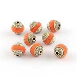 OrangeRed Handmade Indonesia Beads, with Brass Core, Round, OrangeRed, Size: about 8mm in diameter, 9mm thick, hole: 1mm