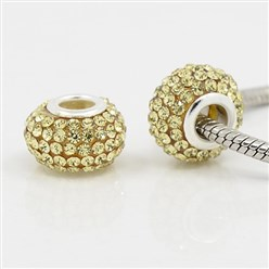 Jonquil Grade A Rhinestone European Beads, Large Hole Beads, Resin, with Silver Color Brass Core, Rondelle, Jonquil, 12x8mm, Hole: 4mm