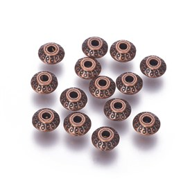 Tibetan Style Alloy Beads, Lead Free & Cadmium Free, Bicone, about 7mm long, 7mm wide, 4.5mm thick, hole: 1mm