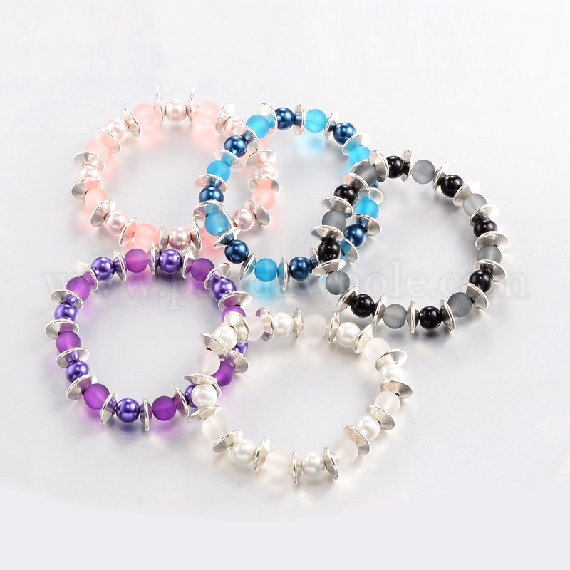 frosted round glass beaded stretch bracelets with glass pearl beads and tibetan style spacer beads