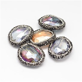 Faceted Glass Polymer Clay Rhinestone Oval Beads, 24~27x29~31x10~12mm, Hole: 1mm