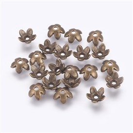 Tibetan Style Alloy Bead Caps, Lead Free and Cadmium Free, 6.5mm in diameter, 3mm thick, hole: 1mm
