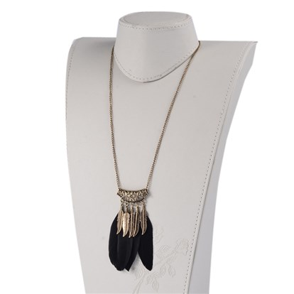 "Alloy Feather Bib Necklaces, with Iron Chains and Lobster Claw Clasps, 27.9""-1"