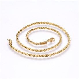304 Stainless Steel Rope Chain Necklaces, with Lobster Claw Clasps