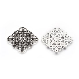 Tibetan Style Filigree Joiners, Lead Free, Rhombus, 36x36x1mm, Hole: 1mm