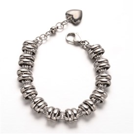 304 Stainless Steel Chain Bracelets, with Heart Charm and Lobster Claw Clasps, 200mm
