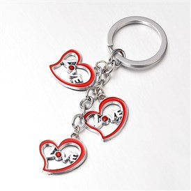 Zinc Alloy Enamel Key Chains, with Rhinestones, Heart with Word Love, 110x25mm