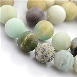Amazonite Natural Frosted Amazonite Round Beads, 8mm, Hole: 1mm; 48pcs/strand, 15.5""