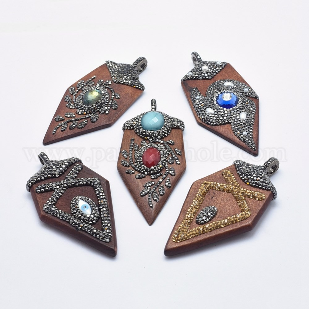 360fed12c1 Wood Big Pendants, Dyed, with Polymer Clay Rhinestone, Mixed Stone and  Brass Finding, Arrows