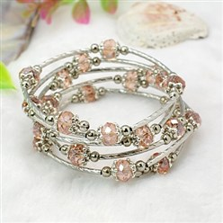 Pink Fashion Wrap Bracelets, with Rondelle Glass Beads, Tibetan Style Bead Caps, Brass Tube Beads and Steel Memory Wire, Pink, Inner Diameter: 55mm