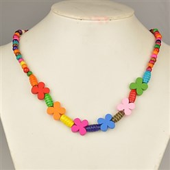 Colorful Colorful Wood Necklaces for Kids, Children's Day Gifts, Stretchy, Colorful, 18 inches