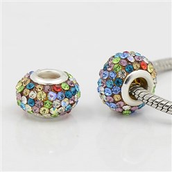 Colorful Grade A Rhinestone European Beads, Large Hole Beads, Resin, with Silver Color Brass Core, Rondelle, Colorful, 12x8mm, Hole: 4mm