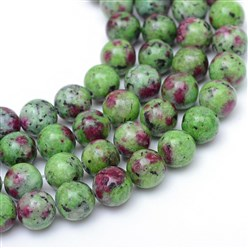 Ruby in Zoisite Round Dyed Natural Ruby in Zoisite Bead Strands, 8~9mm, Hole: 1mm; about 46pcs/strand, 15.3""