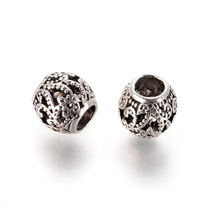 Alloy European Beads, Large Hole Beads, Hollow, Round
