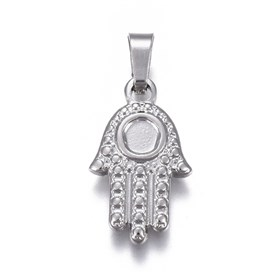 304 Stainless Steel Pendants Cabochons Setting, Religion, Hamsa Hand/Hand of Fatima/Hand of Miriam