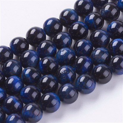 Natural Tiger Eye Beads Strands, Dyed & Heated, Round